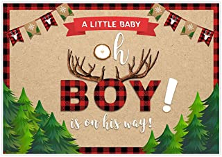 Allenjoy 7x5ft Lumberjack Themed Backdrop Supplies Oh A Little Baby is On His Way Wild One Boy 1st First Red Black Buffalo Plaid for Birthday Party Baby Shower Decorations Photoshoot Props Background