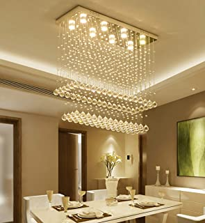 Moooni Modern Rectangular Raindrop Crystal Chandelier Ceiling Lighting Fixture Pendant Flush Mount LED Light Rectangle Chandeliers for Dining Rooms 8-Lights L 31.5