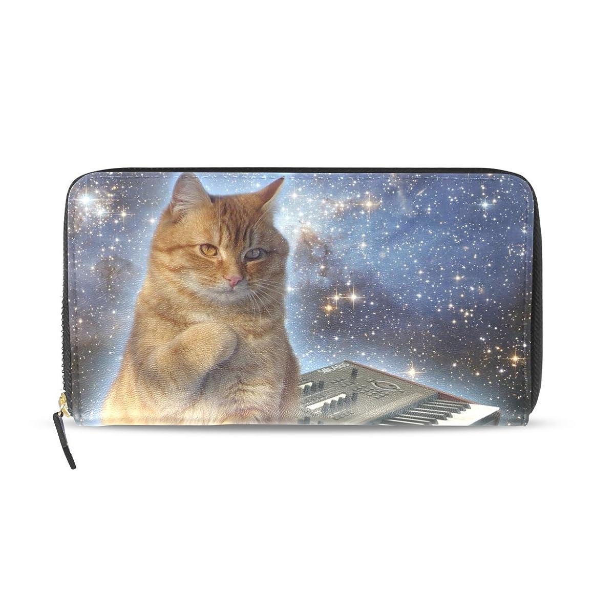 レーニン主義年レーニン主義GORIRA(ゴリラ) 星空 オレンジ 猫のキーボード猫の悩み 長財布 レディース ダブルサイド印刷 ファスナー開閉式 ウォレット