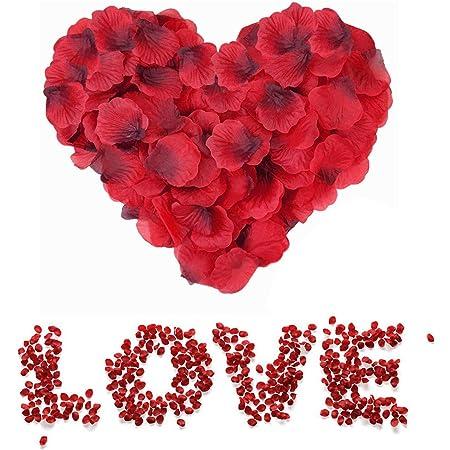 Sweetone Pétalos de Rosa, 3000 Piezas Petalos de Rosa Rojos Artificiales Pétalos de Rosa para día de San Valentín Decoración/Bodas Decoración/Fiestas/Ambiente Romántico/Proponer/Fores de Boda/Confeti