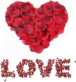 Sweetone 3000 Piezas de pétalos de Rosa de Seda Artificial Rojos para el día de San Valentín, proponer, Flores de Boda, Confeti, dispersión de Mesa