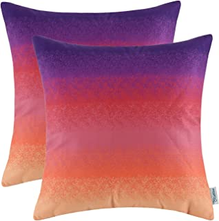 CaliTime Pack of 2 Cozy Fleece Throw Pillow Cases Covers for Couch Bed Sofa Farmhouse Modern Gradient Ombre Rainbow Stripes 18 X 18 Inches Purple to Orange