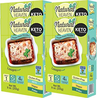 Natural Heaven Lasagna Hearts of Palm Noodles - 9 Ounce (Pack of 4) - Low Carb, Gluten Free, Keto Friendly, Vegan, Paleo, Non Gmo, High Fiber, Plant Based