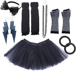 80s Fancy Costume Set - Tutu & Leg Warmers & Fishnet Gloves & Beads