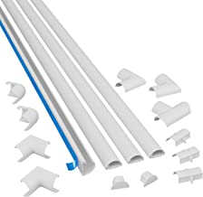 """D-Line Medium Cable Raceway Kit, 13 Feet of Self Adhesive Cord Covers with Connector Accessories, Electrical Wire Concealer for Home Theater, TV, and Office 