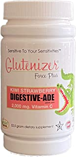 Sufficient C, Glutenizer Force Plus Kiwi-Strawberry Digestive-Ade Drink Mix w/Premium Full Spectrum Vegan Enzymes Plus 2,0...