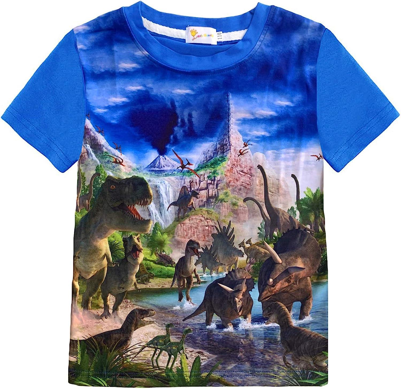 Toddler Boys Shirt Dinosaur Short Sleeve 3D T-Shirt Summer Kids Animal Graphic Cotton Tops Tees