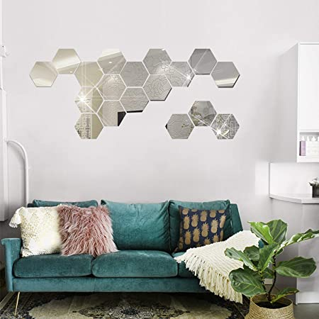 Amazon Com Hooddeal Diy Mirror Hexagon Wall Stickers Acrylic Living Room Decorative Art Decals Self Adhesive Wall Decor For Home Decoration 3 2 X 2 8 X 1 6 Inches 24 Pcs Silver Arts Crafts Sewing