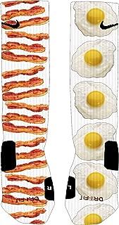 Bacon & Egg Custom Elite Socks | Dri-Fit Moisture Wicking Casual Crew Socks