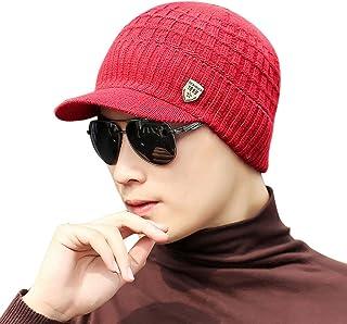 URIBAKE Unisex Knitted Hat Peaked Baggy Weave Crochet Winter Warm Wool Ski Beanie Caps