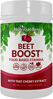 BEET BOOST® Natural Beet Root Powder with Tart Cherry 7Oz – Vegan Post Workout Recovery Powder Shake – Sports Nutrition Nitric Oxide Boosters – Anti-Inflammatory - Gluten Free & Non-GMO