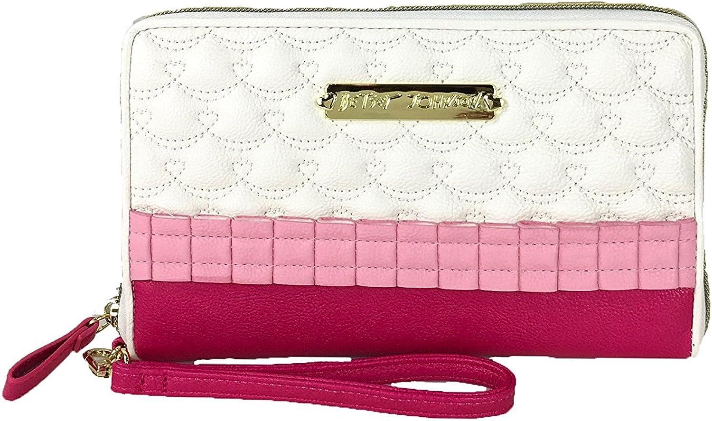 Betsey Johnson Oh Frills Travel Wristlet Wallet, Pink White