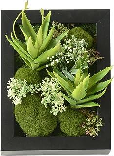 Plantes succulentes artificielles à suspendre au mur - Bonsai artificiel - Jardin suspendu dans un cadre rectangula...