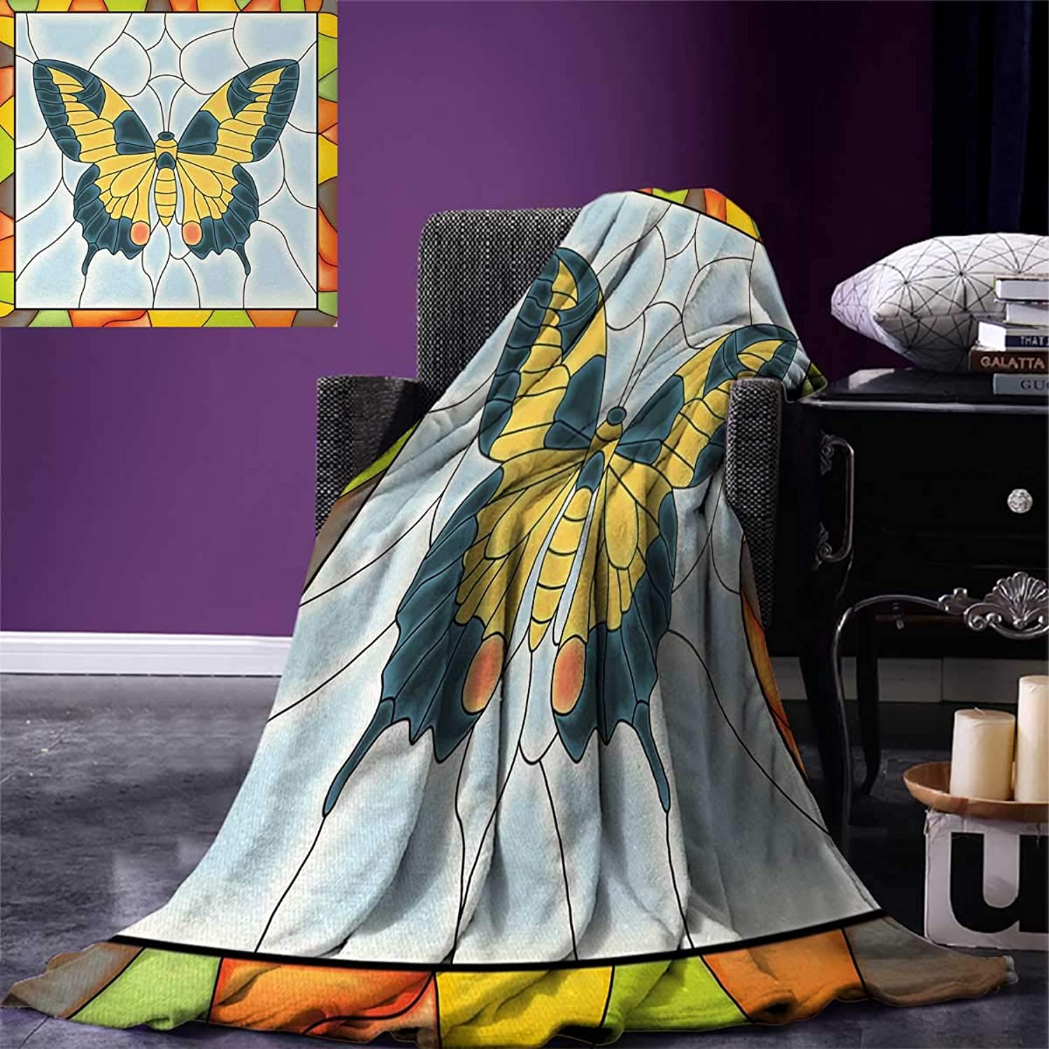 Anniutwo Butterflies Travel Throw Blanket Butterfly in StainedGlass Window Frame Wing Spring Garden Illustration Velvet Plush Throw Blanket 60 x50  Multicolor