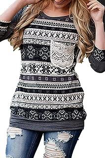 Women 3/4 Sleeve Striped Pattern Front Crochet Pocket Tops Blouses