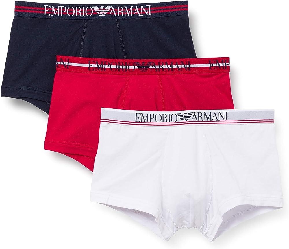 Emporio armani trunks 3 paia di boxer mutandine per uomo 1113571P72340035