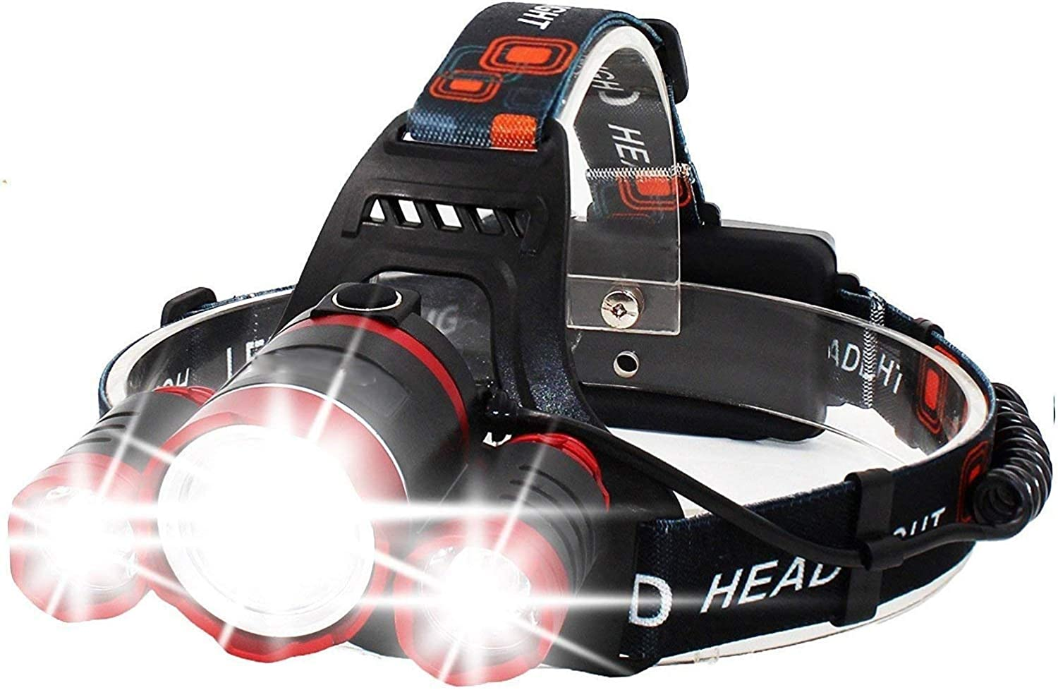 Jumedy Super Bright Headlamp High Lumens 4 Modes Adjustable Waterproof Zoomable LED Headlight with Rechargeable Batteries for Camping Hiking Fishing Reading