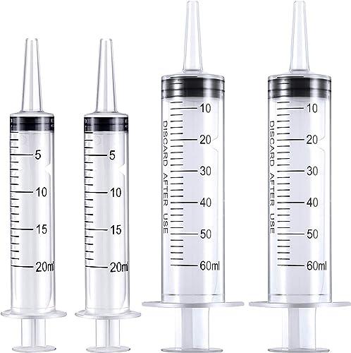 Frienda 4 Pack Large Plastic Syringe for Scientific Labs and Dispensing Multiple Uses Measuring Syringe Tools (20 ml ...