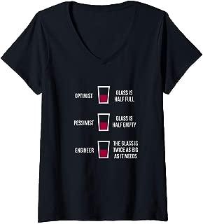 Womens Engineer Glass Half Full: Funny Engineering Joke V-Neck T-Shirt