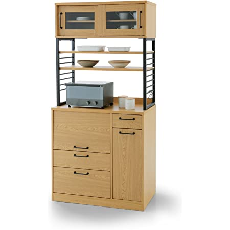 LOWYA ロウヤ 食器棚 キッチン レンジ台 カウンター スライドレール 収納 幅90cm ナチュラル