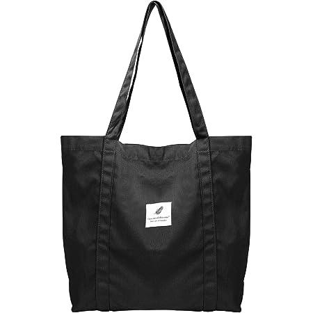 ZhengYue Canvas Umhängetasche Damen, Schultertasche Groß Canvas Tasche Lässige Tote Handtasche Fashion Stofftasche für Alltag, Büro, Schulausflug und Einkauf Schwarz