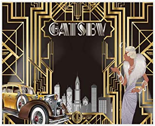 Allenjoy 10x8ft The Great Gatsby Themed Backdrop for Adult Celebration Retro Roaring 20s Graduation Party Art Fashion Decor Birthday Wedding Decoration Pictures Background Supplies Photo Booth Prop