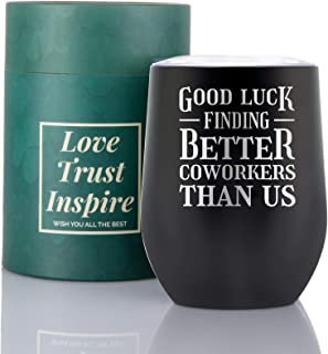 Coworker Leaving Gifts-Onebttl Gifts for Colleague Women - Going Away Goodbye Farewell Gift for Boss for Christmas New Year- Insulated Stainless Steel Wine Tumbler with Lid 12Oz-Black