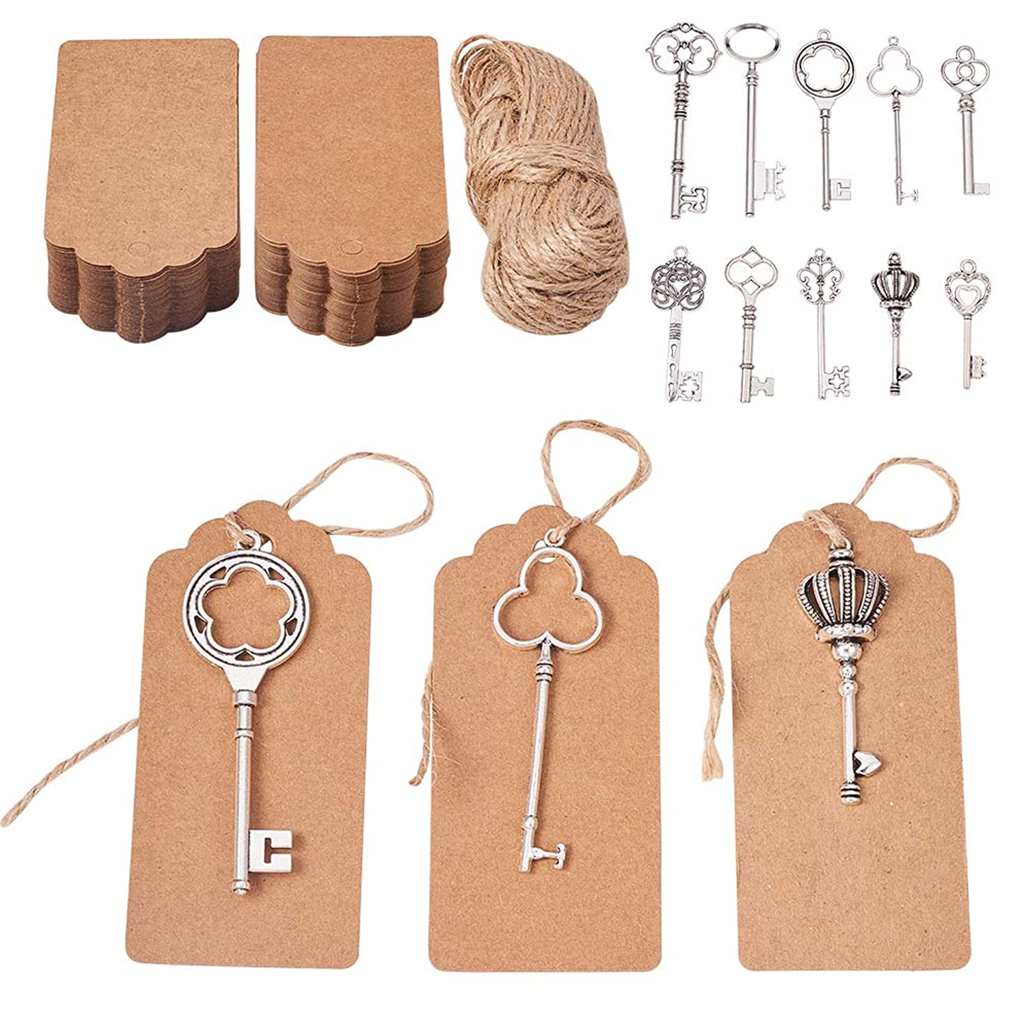 PH PandaHall 50pcs Antique Silver Skeleton Key Charm with 100PCS Kraft Paper Gift Tags & 65 Feet Natural Jute Twine Charm Pendants Wedding Favor