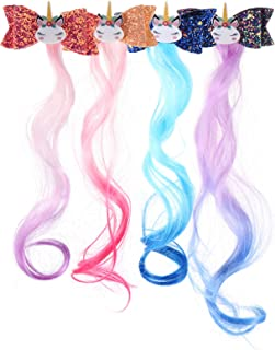 PIXNOR 4pcs Princess Unicorn Hair Clips Hair Extensions with Glitter Bows Kids Girls Ponytails Hair Bows Pins Festival Hal...