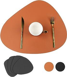 Lot de 4 sets de table en cuir lavable avec dessous de verre carré pour table à manger comme décoration de table pour la m...