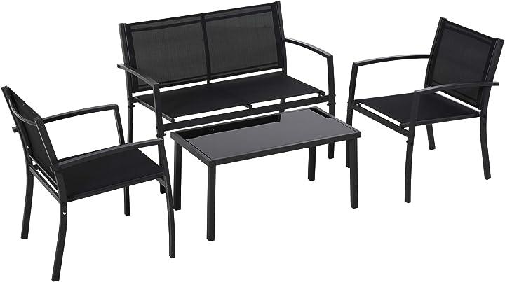 Outsunny salotto da esterno, set 4 pezzi con 1 tavolino, 2 sedie da giardino e 1 panca in metallo, nero IT84B-5080631
