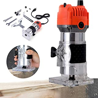 DONNGYZ 30000RPM Electric Hand Wood Edge Trimmer,1/4 '' Wood Laminate Palm Router Joiner Tool Cutting Machine Hand Wood Trimmer for Furniture Chamfering Grooving Drilling Woodworking Tools