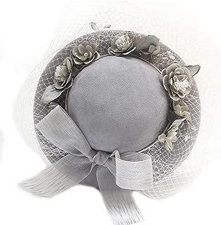 Hats Studio Dress Accessories Bride's Hat Grey Gauze Flower Vintage Hat Fashion (Color : Grey)