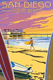 San Diego, California - Ocean Beach (9x12 Art Print, Wall Decor Travel Poster)