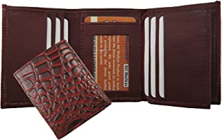 100/%Genuine EEl Skin Bi-fold Mens Wallet Brown #E316