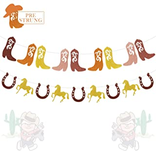 Western Cowgirl Cowboy Banner Boots Horses Horseshoes Garland for Girls Kids First Birthday Baby Bridal Shower Party Glitter Decorations-PRESTRUNG …