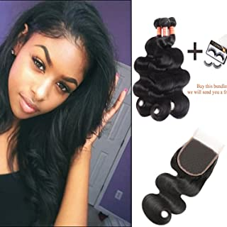 Yixiang 10A Brazilian Virgin Hair Body Wave 3 Bundles with Closure Brazilian Body Wave Hair 100% Unprocessed Human Hair Weave With Free Part Lace Closure Hair Extensions(12 14 16+10 free part)
