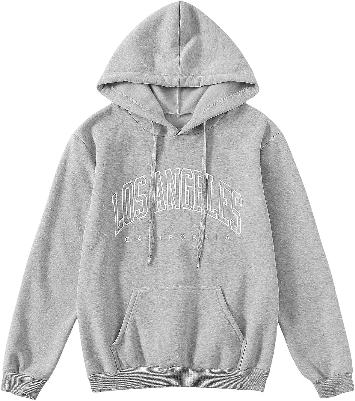 SOLY HUX Women's Letter Print Long Sleeve Drawstring Hoodie Pocket Top Sweatshirt