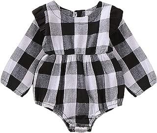 Baby Girl Plaid Romper Toddler Long Sleeve Onesie Infant Kids Ruffled Lace Bodysuit Romper