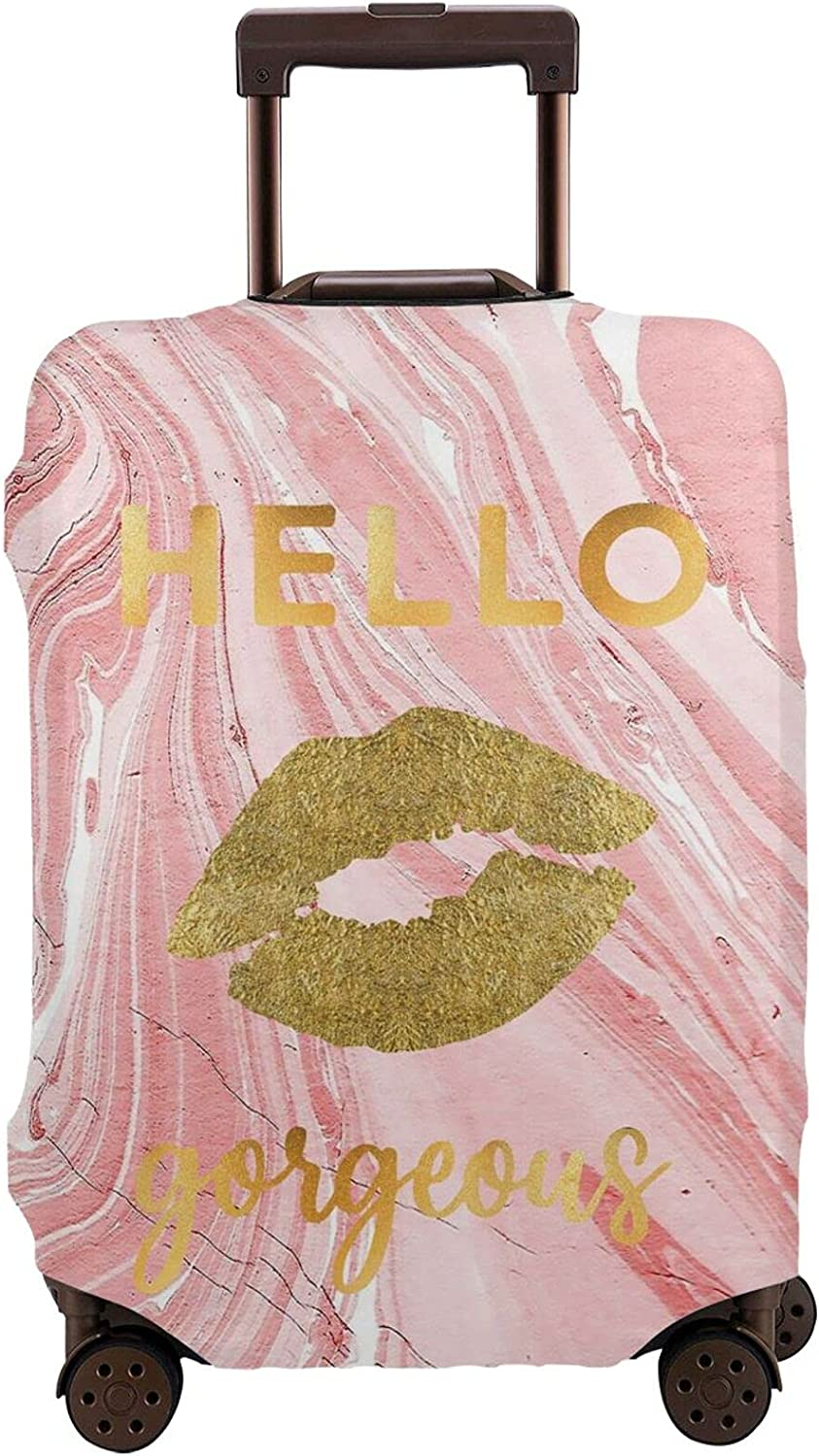 New life Hello Gorgeous Travel Luggage famous Cover in Gold Marble Suitcase Lip