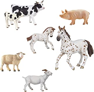Papo Farm Animal Figurine Bundle - Cow and Calf, Merinos Sheep, Boar, Appaloosa and foal, Nanny Goat