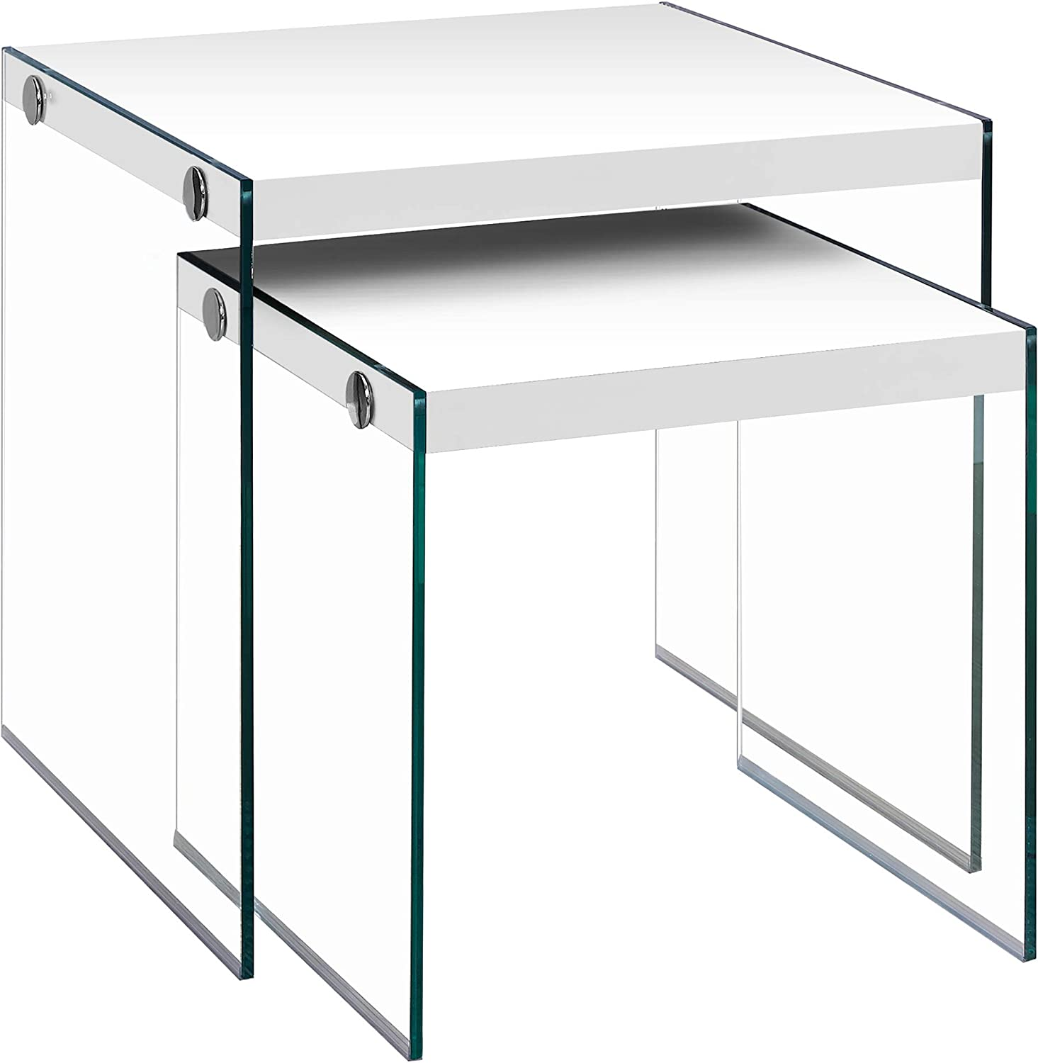 Monarch 5 ☆ popular Specialties Nesting Table Glossy White Glass Tempered depot