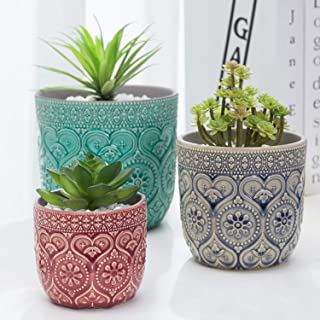 MyGift Multi-Colored Small to Medium Sized Round Embossed Design Ceramic Flower Pots, Set of 3