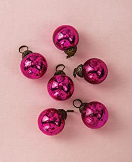 Luna Bazaar Mini Mercury Glass Ball Ornaments (1 to 1.5-Inch, Fuchsia Pink, Ava Design, Set of 6) - Great Gift Idea, Vintage-Style Decorations for Christmas, Special Occasions, Home Decor and Parties
