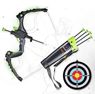 SainSmart Jr. Kids Bow and Arrows, Light Up Archery Set for Kids Outdoor Hunting Game with 5 Durable Suction Cup Arrows, Luminous Bow and Sighting Device, Green