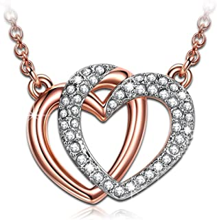 Gifts for women J.NINA 'Guardian of Love' rose gold plated double heart bangle women bracelet gifts for mom jewelry Swarovski crystal