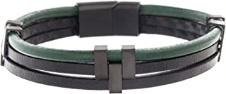 Men's Black and Green Faux Leather Triple Strand Bracelet with Stainless Steel Black IP Closure
