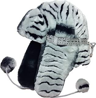 Womens Lined Aviator Style Furry Winter Hat With Earflaps - Zebra