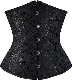 Zhitunemi Women's Lace Up Boned Jacquard Brocade Waist Training Underbust Corset Lingerie 2X-Large Black