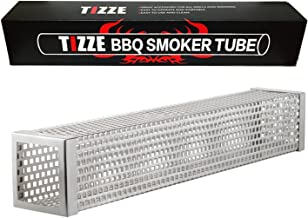 TIZZE 12 inches BBQ Pellet Smoker Tube for Any Grill or Smoker, Hot or Cold Smoking - Easy, Safety and Tasty Smoking